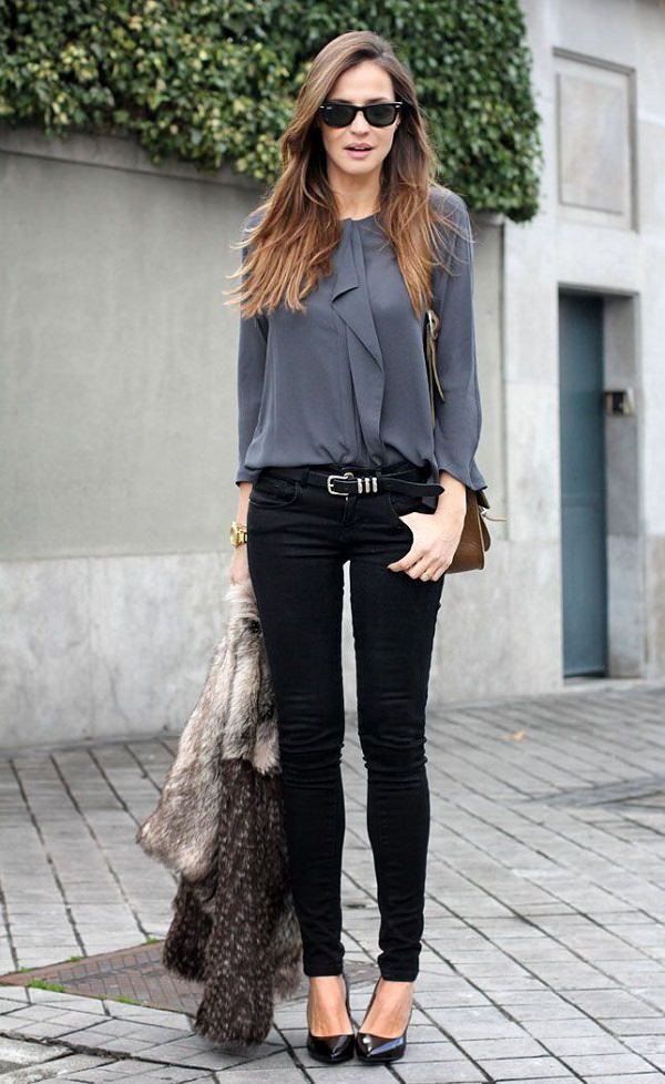 work-fashion-grey-blouse-black-skinny-jeans-combo