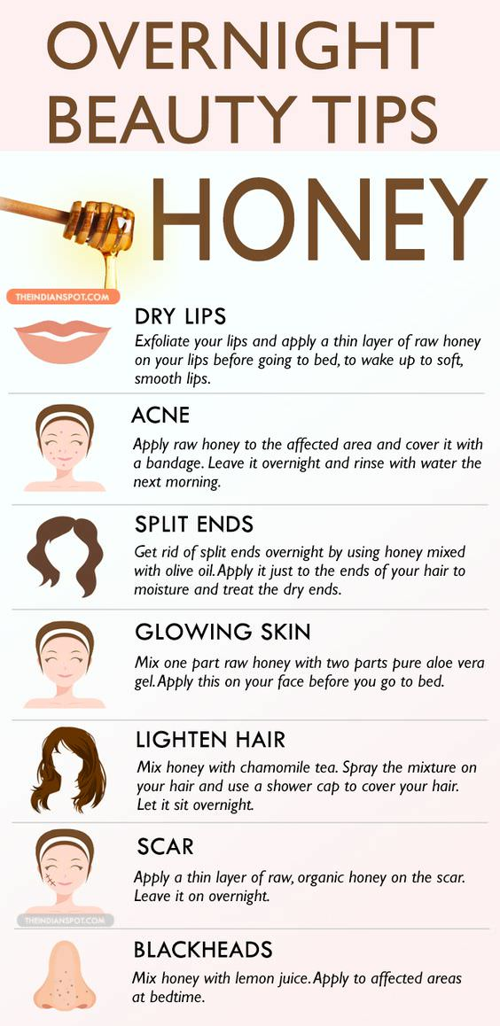 Honey can be used in many different ways to treat your skin and hair, so here are few ways to use honey in an overnight beauty treatment.